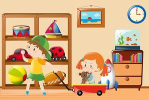 Niños jugando con juguetes en la habitación.