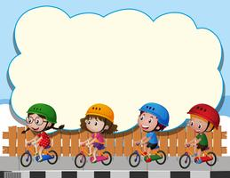 Border template with four kids riding bike