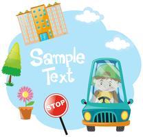 Ontwerp van het document met jongen blauwe auto rijden