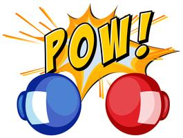 Expresión palabra pow con guantes de boxeo