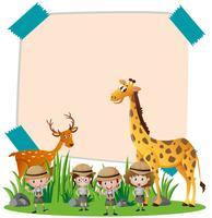 Plantilla de papel con animales salvajes y niños. vector