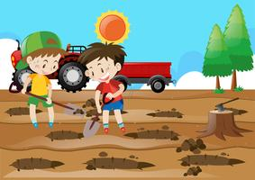 Two boys digging holes on the ground
