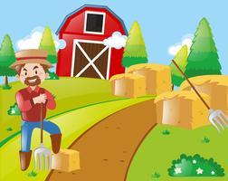 Agricultor, trabalhando, ligado, farmyard