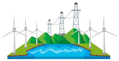 Windmühlen und Stromleitungen am Fluss