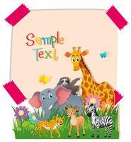 Modelo de papel com animais selvagens