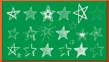 Different doodle designs of stars on board