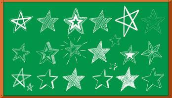 Doodle diferentes diseños de estrellas a bordo.