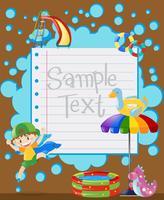Plantilla de papel con niño feliz saltando