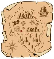 Treasure map with ship sailing to island