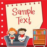 Diseño de papel con niño y niña leyendo.
