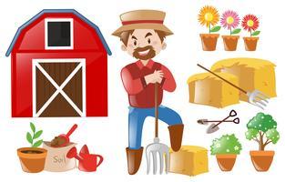 Farmer and farming elements