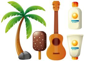 Summer set with coconut tree and guitar vector