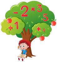 Pojke beräknar siffror under stort träd