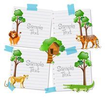 Plantilla de papel con animales en el fondo