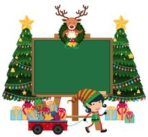 Blank board with elf and lots of presents