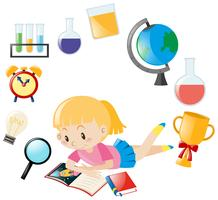 Libro di lettura ragazza e oggetto diverso per la scuola