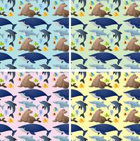 Seamless background with sea animals