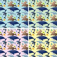 Fondo transparente con animales marinos