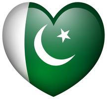 Pakistan flag in heart shape