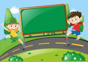 Conception de la planche avec deux garçons sur la route