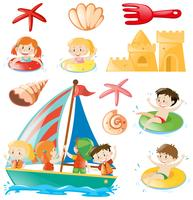 Kids on boat and beach objects