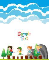 Modello di carta con i bambini sui registri