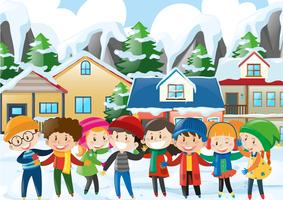 Many children in winter