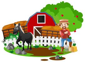 Agricultor y caballo en la granja.