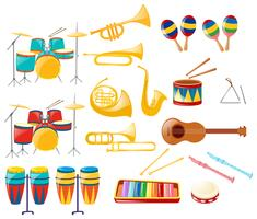 Different kinds of musical instruments