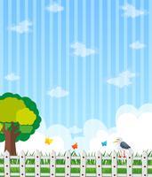 Achtergrondontwerp met tuin en blauwe hemel