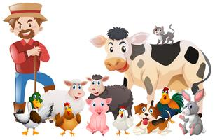 Farmer and many animals