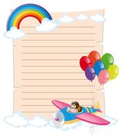 Paper template with kid on plane vector