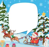 Border template with santa and reindeers on christmas