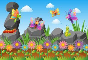 Différents types d'insectes dans un jardin de fleurs