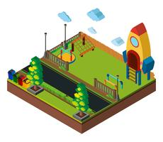 Isometrische Spielplatzszene