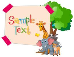 Paper template with wild animals under tree