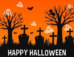 Diseño de cartel de feliz Halloween con fantasmas en el cementerio