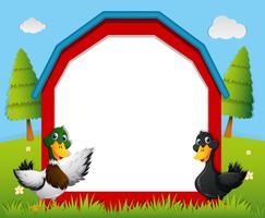 Plantilla de frontera con patos en la granja.