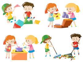 Niños realizando diferentes actividades.