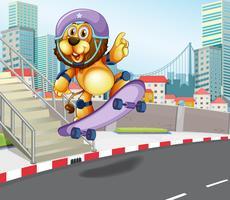 Leão andando de skate na cidade urbana