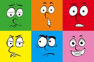 Six facial expressions on different background