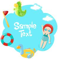 Paper template with kid swimming