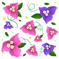 Seamless background design with colorful flowers in pink and purple