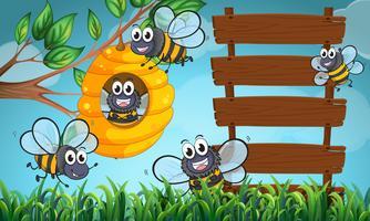 Scène avec abeilles et panneau en bois