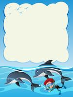 Plantilla de borde con niño buceando con dos delfines.
