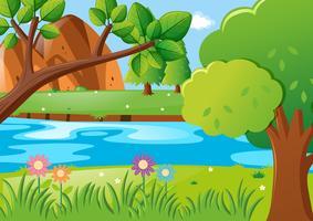 Scena con alberi e fiume