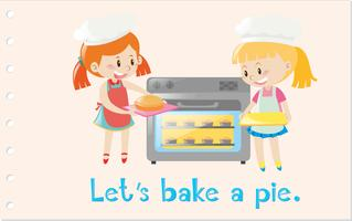 Action wordcard with girls baking pie