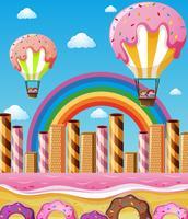 Szene mit den Kindern, die in Süßigkeitsballone fliegen