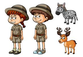 Two people in safari outfit and wild animals