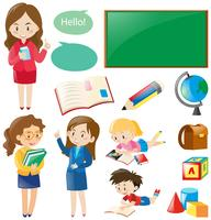 School set with teachers and students